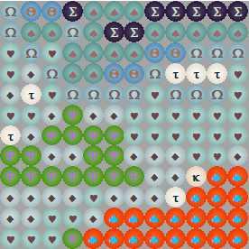 Схема вышивки бисером на ткани с реверсивным цветом символов