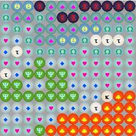 Схема вышивки бисером на ткани с цветами символов, настроенными пользователем