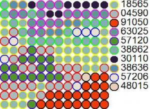 Схема вышивки бисером на ткани с цветными контурами бусин