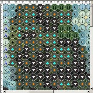 Схема вышивки бисером на ткани с оригинальным изображением в зазорах между бусинами