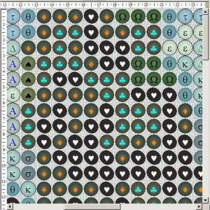 Схема вышивки бисером на ткани с текстурой ткани в зазорах между бусинами