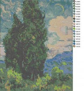 Схема вышивки на ткани бисером(крестом) со списком использованных цветов