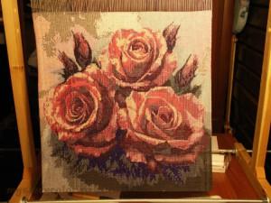 Готовая вышитая бисером работа 'Букет роз', созданная с помощью программы 'Бисер и мулине с MyJane'