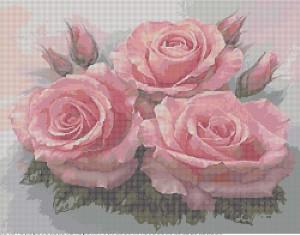 Схема вышивки бисером 'Букет роз', созданная в программе 'Бисер и мулине с MyJane'