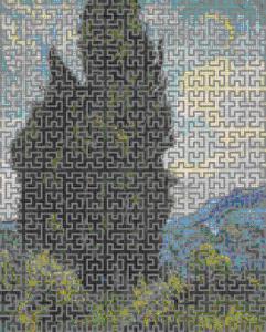 Схема вышивки с ажурным рисунком 'линия Гильберта'