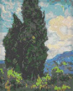 использование в схеме вышивки бисера различных форм полного набора различных видов крестиков