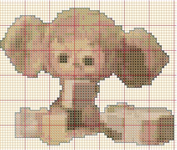 Чебурашка схема вышивки