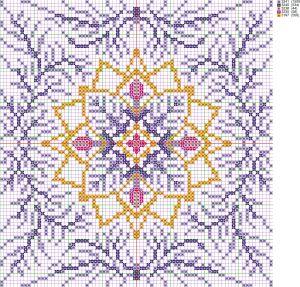 Схема вышивки крестом подушки 'Новогодняя снежинка', созданная программой 'Бисер и мулине с MyJane'.