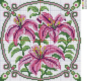 Схемы вышивки крестом подушки 'Лилии', созданная программой 'Бисер и мулине с MyJane'.