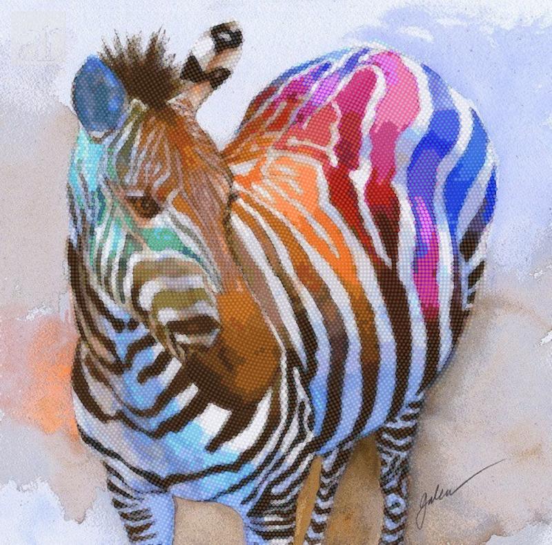 Радужная зебра - схема вышивки бисером Анастасии для бесплатного скачивания