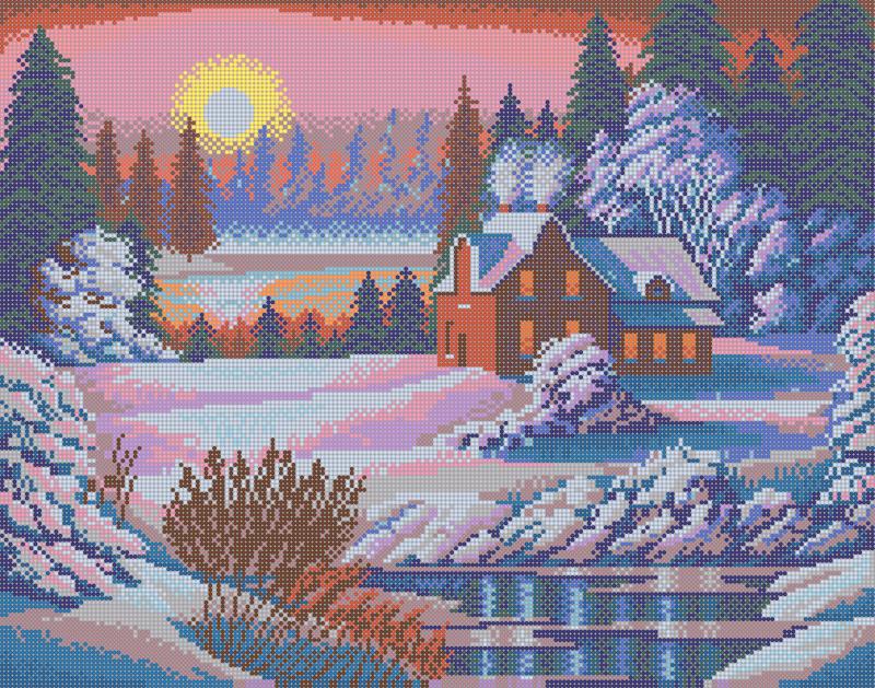 Осень у дома - схема плетения бисером для бесплатного скачивания