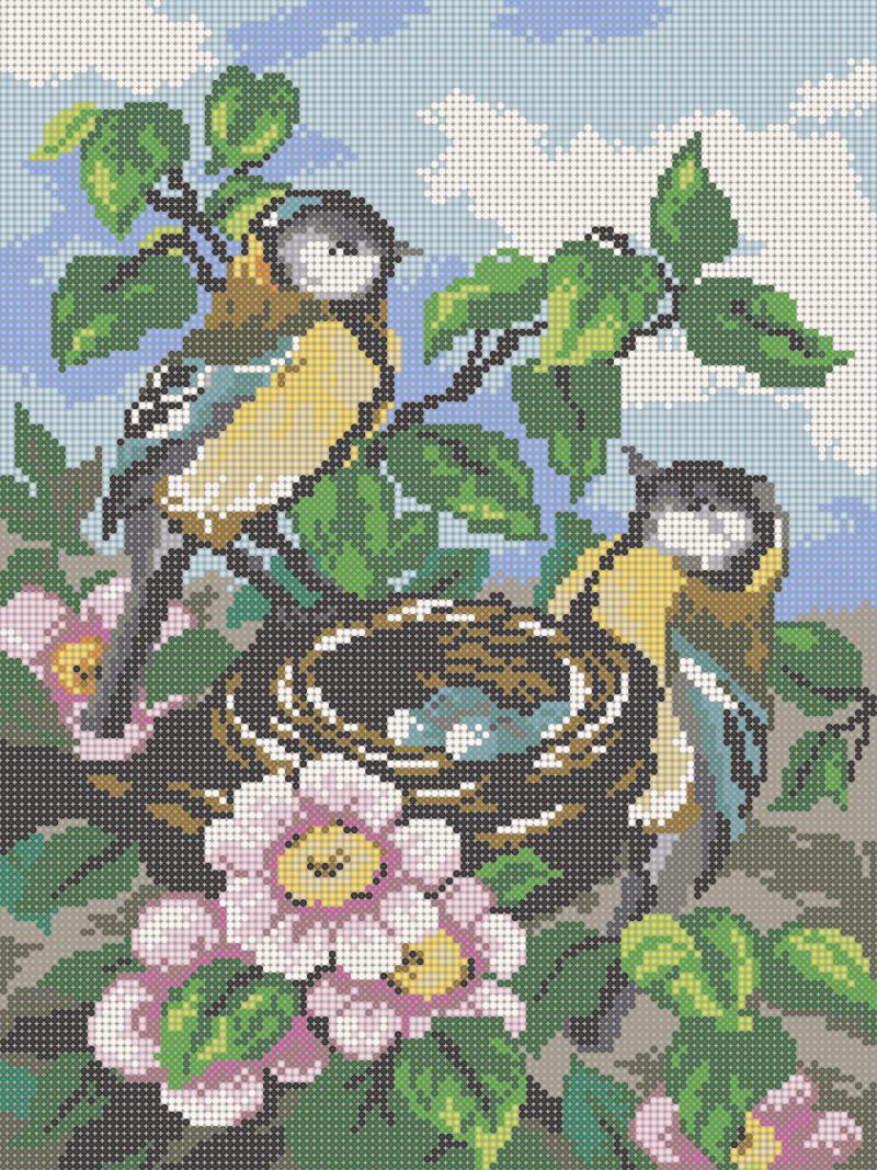 Птички - схема вышивки бисером Елены Ивановой для бесплатного скачивания