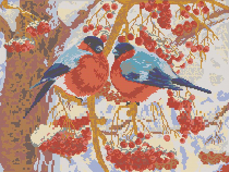 Снегири зимой - схема вышивки бисером Елены Ивановой для бесплатного скачивания