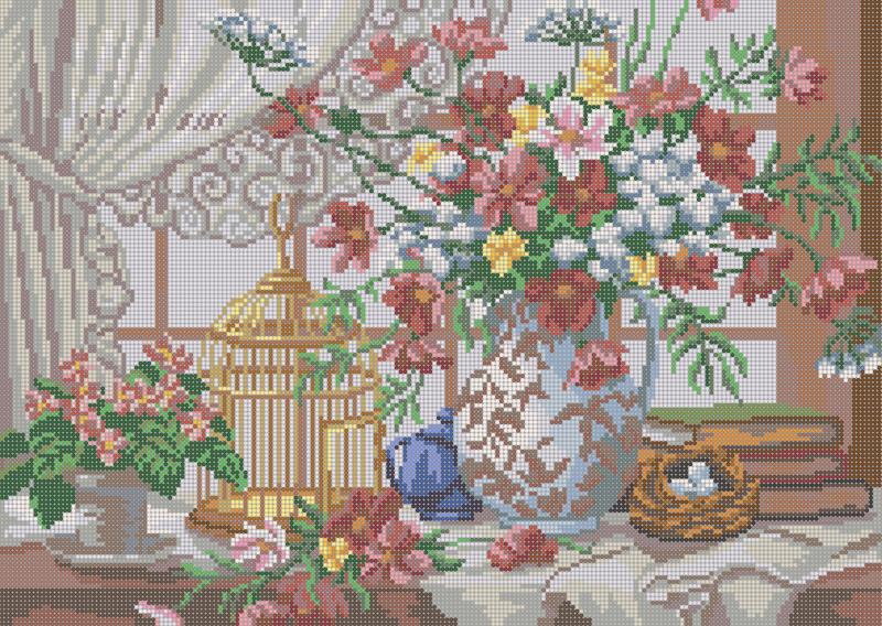 У окна - схема вышивки бисером Елены Ивановой для бесплатного скачивания