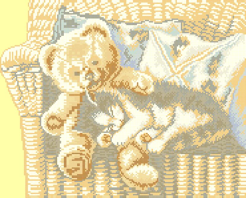 Котенок с медвежонком - схема вышивки бисером Елены Ивановой для бесплатного скачивания