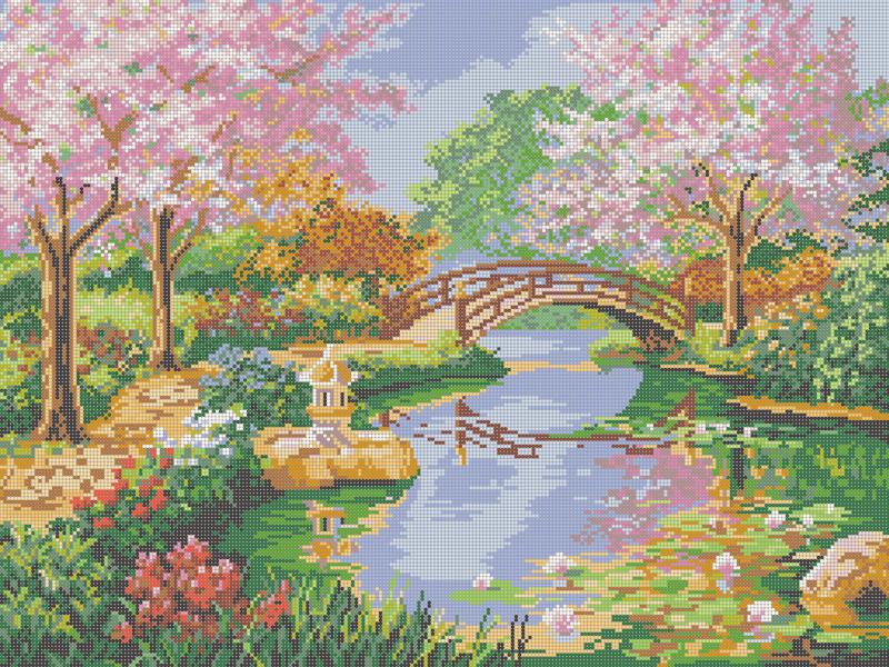 Цветущая весна - схема вышивки бисером Елены Ивановой для бесплатного скачивания