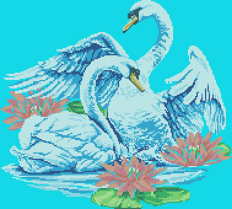 Лебеди в кувшинках - схема вышивки бисером Елены Ивановой для бесплатного скачивания