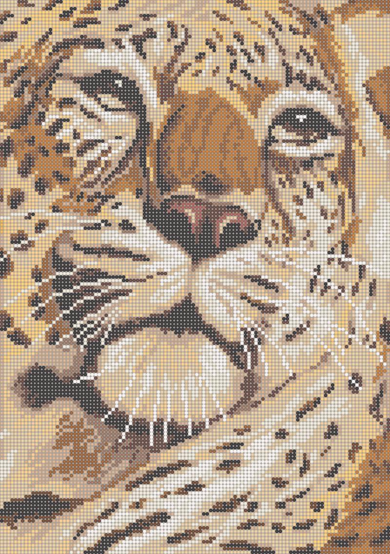 Леопард - схема вышивки бисером Елены Ивановой для бесплатного скачивания