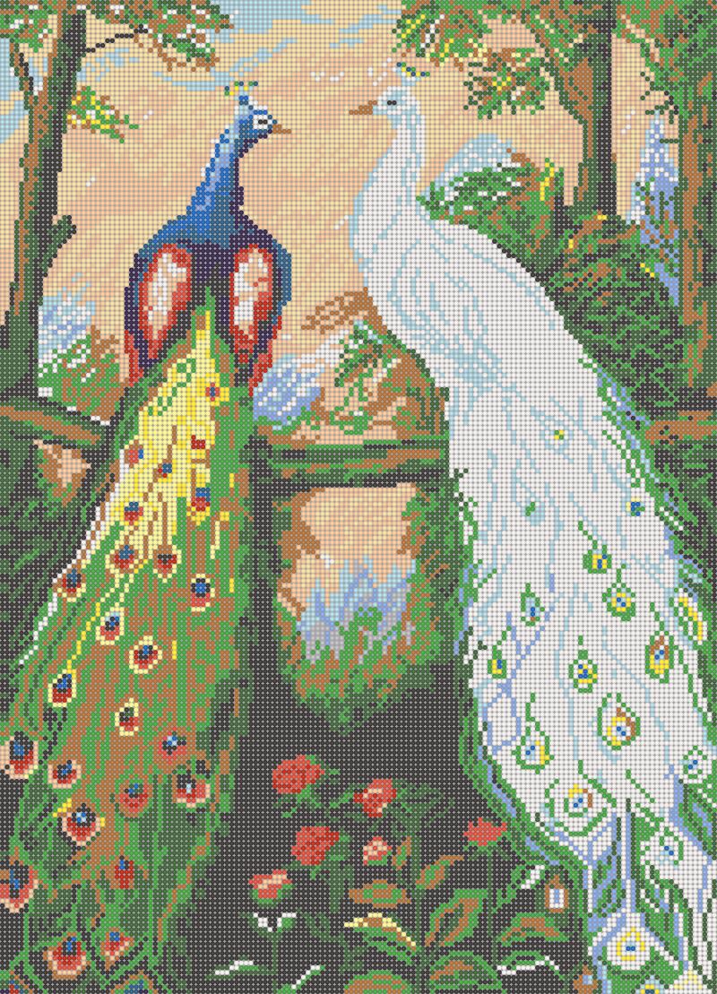 Дружба павлинов - схема вышивки бисером Елены Ивановой для бесплатного скачивания