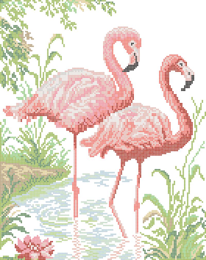 Розовый фламинго - схема вышивки бисером Елены Ивановой для бесплатного скачивания