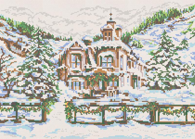 Снежный замок - схема вышивки бисером Елены Ивановой для бесплатного скачивания