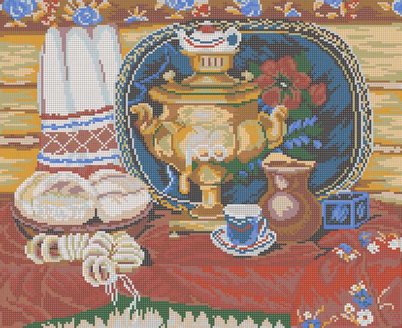 Чай с калачами - схема вышивки бисером Елены Ивановой для бесплатного скачивания