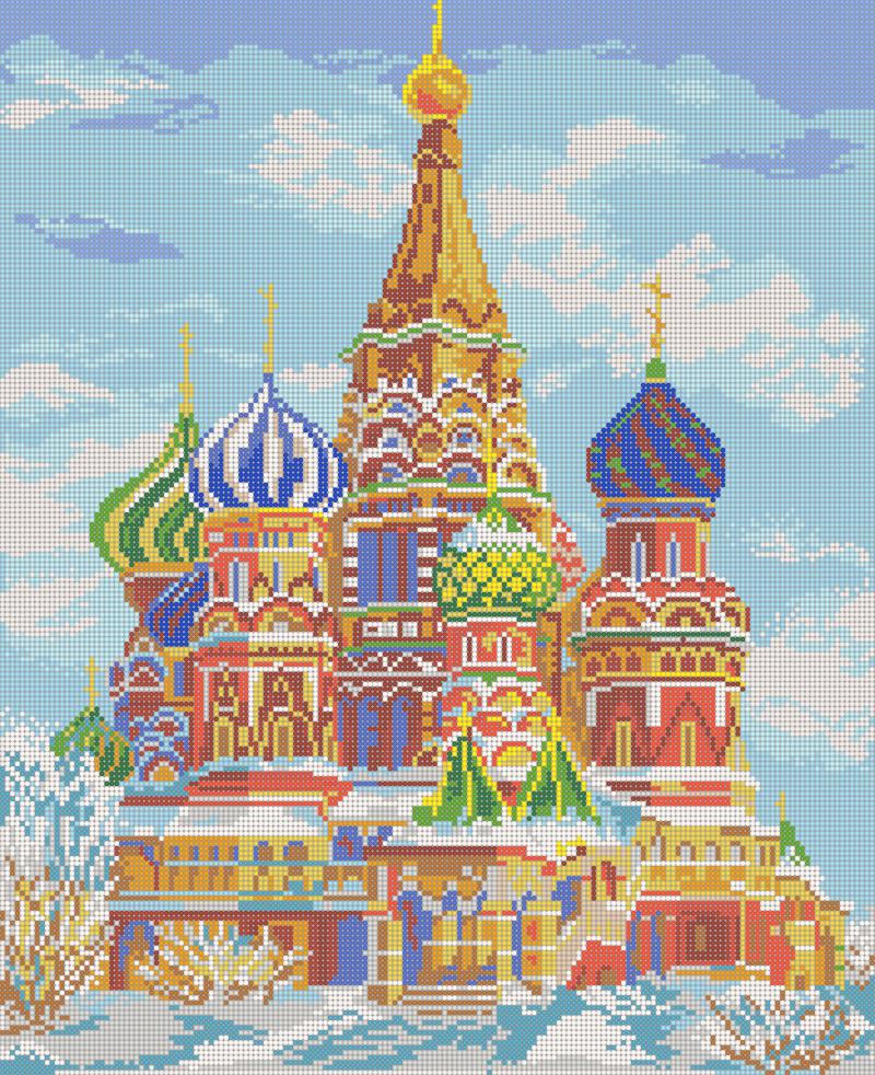 Храм Василия Блаженного - схема вышивки бисером Елены Ивановой для бесплатного скачивания