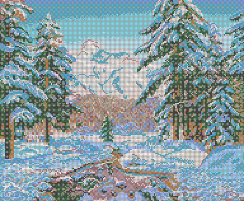 Зимние горы - схема плетения бисером для бесплатного скачивания