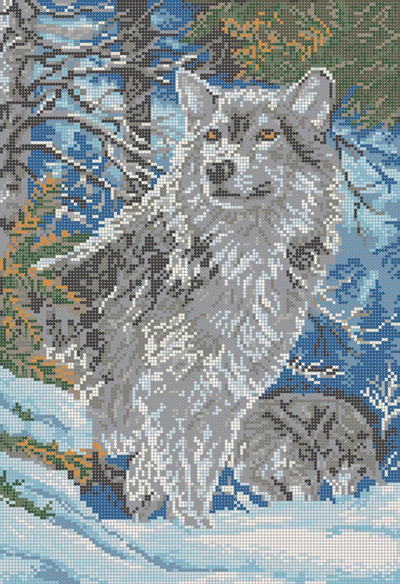 Волк в горах - схема вышивки бисером Елены Ивановой для бесплатного скачивания