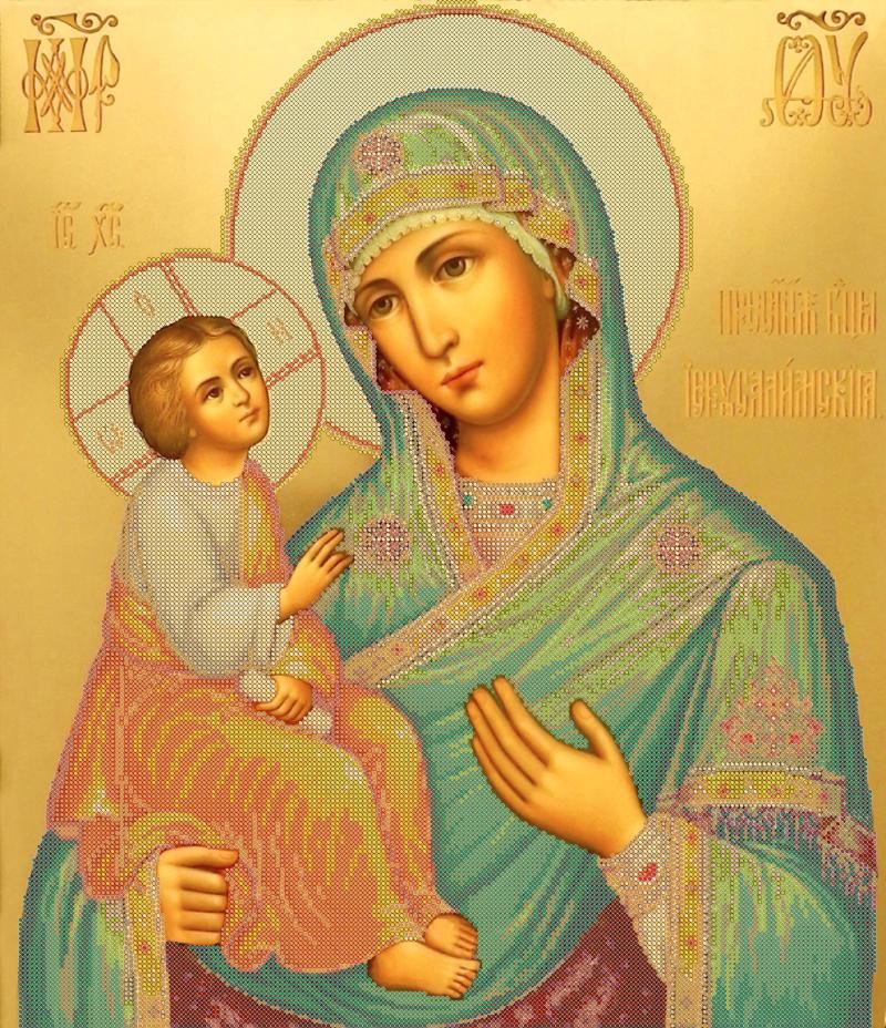 Икона 'Иерусалимская' - схема вышивки бисером Татьяны Смирновой для бесплатного скачивания
