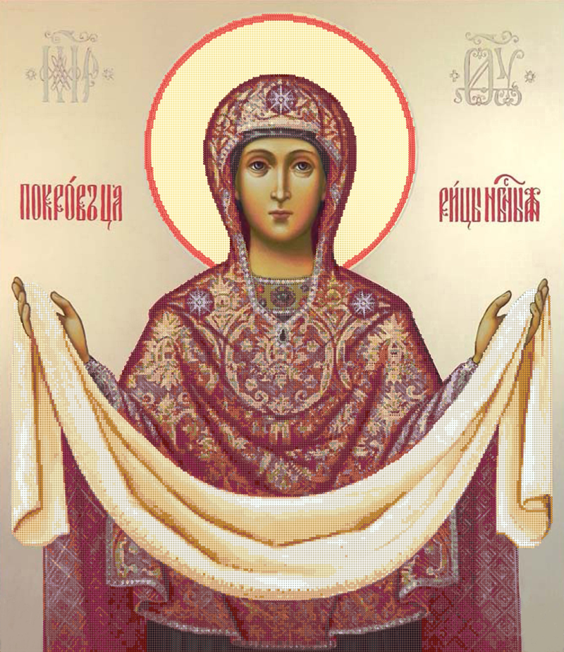 Икона 'Покров Богородицы' - схема вышивки бисером Татьяны Смирновой для бесплатного скачивания