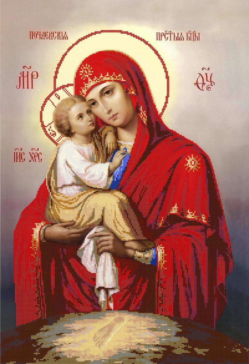Икона 'Почаевская' - схема вышивки бисером Татьяны Смирновой для бесплатного скачивания
