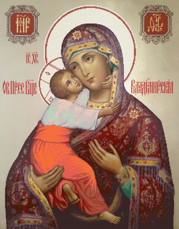 Икона 'Владимирская' - схема вышивки бисером Татьяны Смирновой для бесплатного скачивания