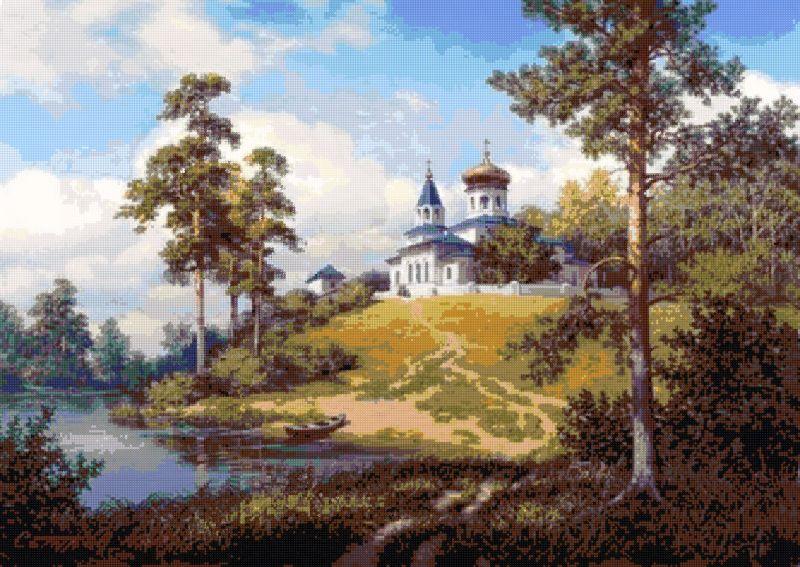 Пейзаж летний с храмом