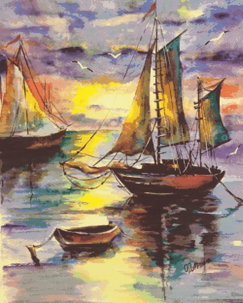 Кораблики - схема вышивки бисером Татьяны Смирновой для бесплатного скачивания