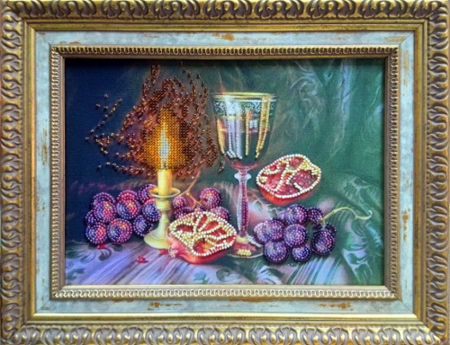 Finished work still life 'pomegranates, created in the program BeadCreatorArt